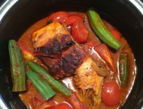 Curry Fish in under 20 minutes using left- over salmon